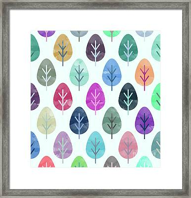 Watercolor Forest Pattern  Framed Print