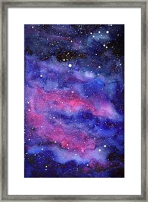Watercolor Galaxy Pink Nebula Framed Print