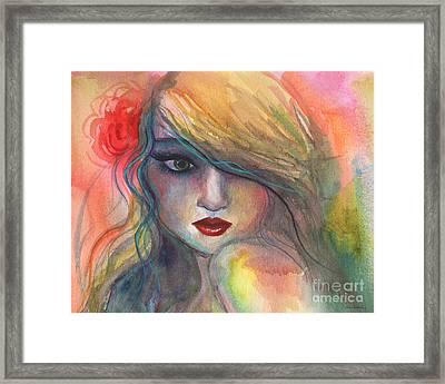 Watercolor Girl Portrait With Flower Framed Print