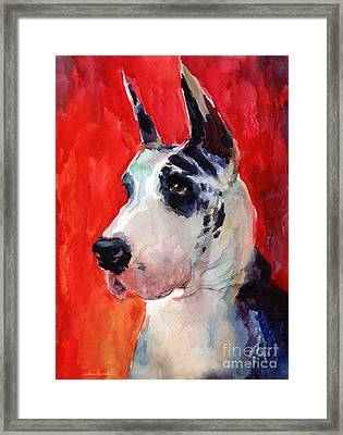 Watercolor Harlequin Great Dane Dog Portrait 2  Framed Print by Svetlana Novikova