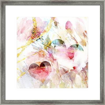 Watercolor Hearts Abstract Framed Print by WALL ART and HOME DECOR