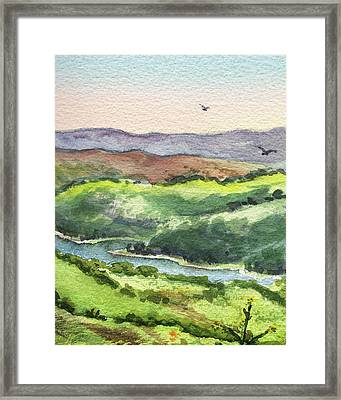 Framed Print featuring the painting Watercolor Hills Of California by Irina Sztukowski