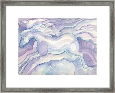 Watercolor Horses Framed Print by Linda Kay Thomas