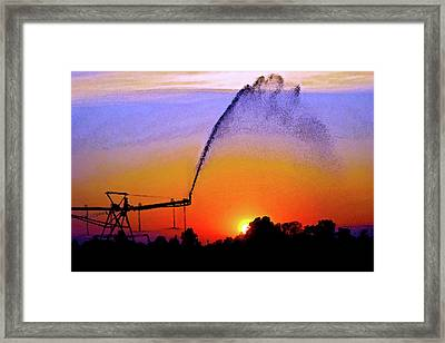 Watercolor Irrigation Sunset 3243 W_2 Framed Print