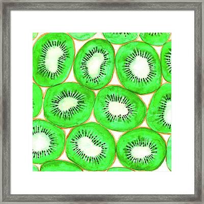 Watercolor Kiwi Slices Pattern Framed Print