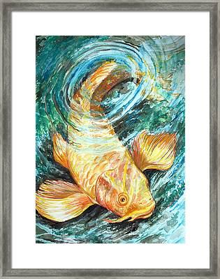 Framed Print featuring the painting Watercolor Koi Study by Jenn Cunningham