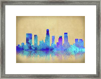 Framed Print featuring the digital art Watercolor Los Angeles Skylines On An Old Paper by Georgeta Blanaru
