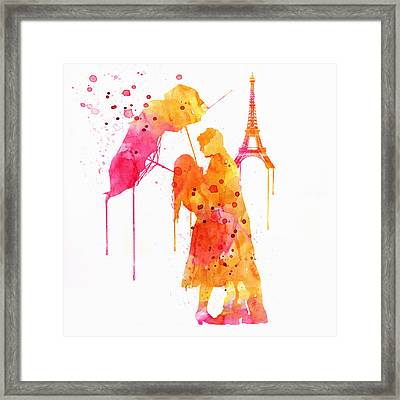 Watercolor Love Couple In Paris Framed Print
