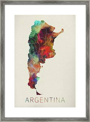 Watercolor Map Of Argentina Framed Print