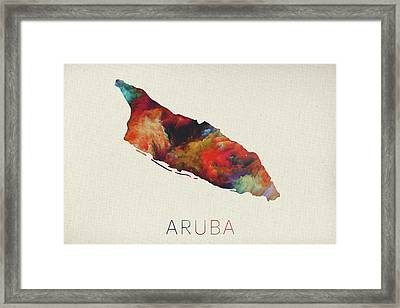 Watercolor Map Of Aruba Framed Print by Design Turnpike