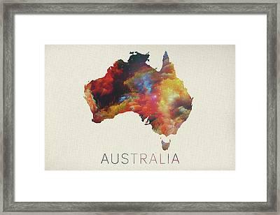 Watercolor Map Of Australia Framed Print