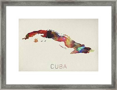 Watercolor Map Of Cuba Framed Print