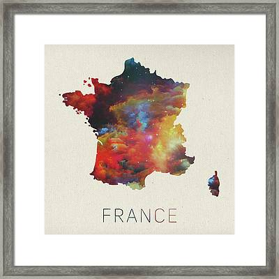 Watercolor Map Of France Framed Print by Design Turnpike
