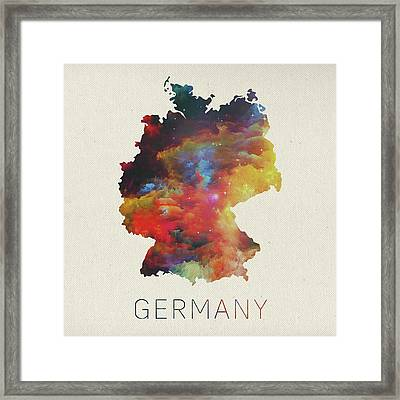 Watercolor Map Of Germany Framed Print