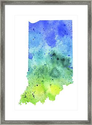 Watercolor Map Of Indiana,  In Blue And Green Framed Print