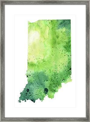 Watercolor Map Of Indiana,  In Green  Framed Print