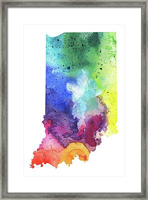 Watercolor Map Of Indiana,  In Rainbow Colors  Framed Print