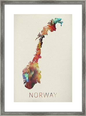 Watercolor Map Of Norway Framed Print by Design Turnpike