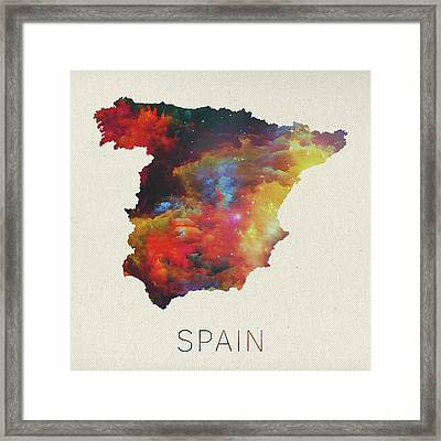 Watercolor Map Of Spain Framed Print by Design Turnpike