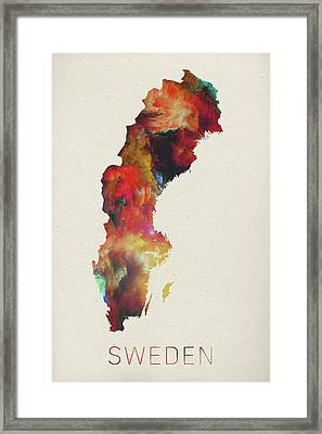 Watercolor Map Of Sweden Framed Print by Design Turnpike