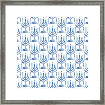 Watercolor Menorahs- Art By Linda Woods Framed Print