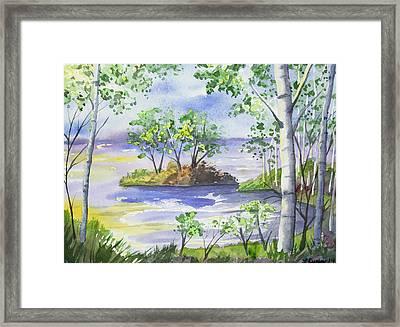 Watercolor - Minnesota North Shore Landscape Framed Print
