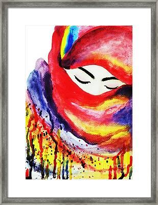 Watercolor Muslim Women Framed Print by Rasirote Buakeeree