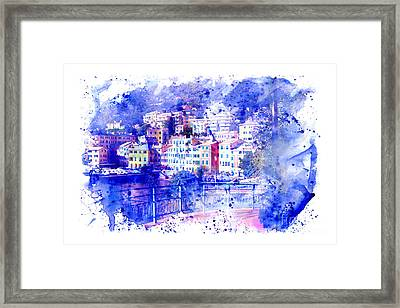 Watercolor Of Marina Genova Nervi. Framed Print by Stefano Gervasio