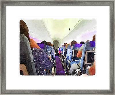 Watercolor Of Passengers On An Airplane Framed Print by Anita Van Den Broek