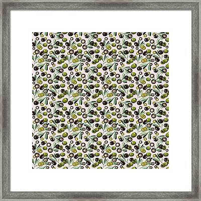 Watercolor Olives Seamless Pattern Framed Print