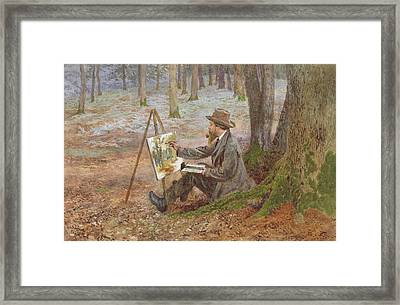 Watercolor Painting In The Woods At Knole Park Framed Print by Charles Green