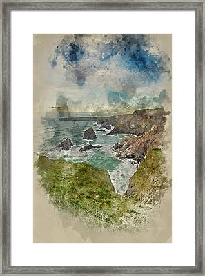 Watercolor Painting Of Beautiful Landcape Image Of Bedruthan Steps On Cornwall Coast In England Framed Print