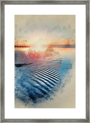 Watercolor Painting Of Beautiful Low Tide Beach Vibrant Sunrise Framed Print by Matthew Gibson