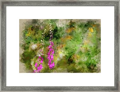 Watercolor Painting Of Beautiful Summer Garden Landscape With Be Framed Print