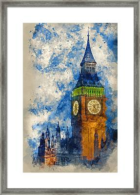 Watercolor Painting Of Big Ben At Twilight Witth Lights Making A Framed Print by Matthew Gibson