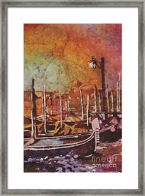 Watercolor Painting Of Gondola Boats On Piazza San Marco At Sunset In The Medieval City Of Venice I Framed Print by Ryan Fox