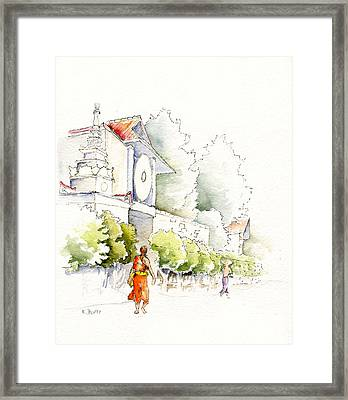Watercolor Painting Of Monk Framed Print by Karla Beatty