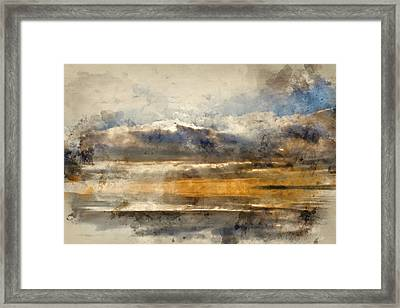 Watercolor Painting Of Stunning Inspirational Sunset Image With Glowing Sun Beams Reflected In Smoot Framed Print