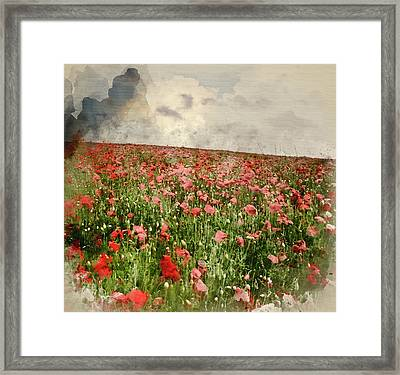 Watercolor Painting Of Vivid Color Red Poopy Field Landscape Under Stormy Sky Framed Print