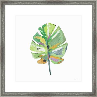 Watercolor Palm Leaf- Art By Linda Woods Framed Print by Linda Woods