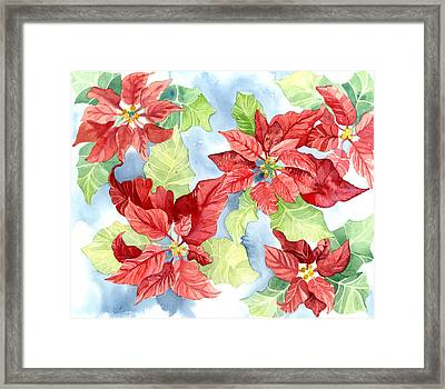 Watercolor Poinsettias Christmas Decor Framed Print by Audrey Jeanne Roberts