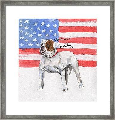Watercolor Postcard Dogs American Bulldog Framed Print by Maryna Lievshyna