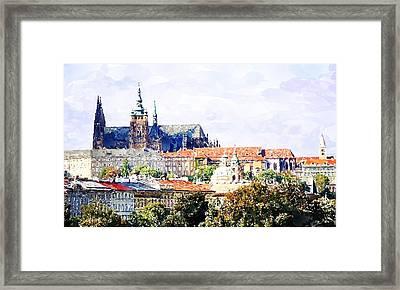 Watercolor Prague Castle Painting Framed Print