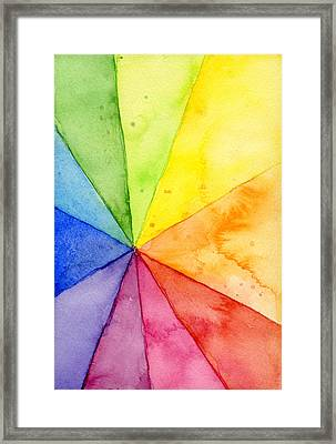 Watercolor Rainbow Beachball Pattern Framed Print
