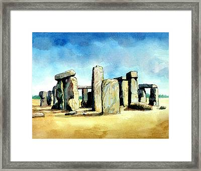 Watercolor Rendering Of Stonehenge Framed Print by Photos.com