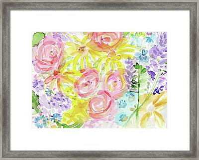 Watercolor Rose Garden- Art By Linda Woods Framed Print