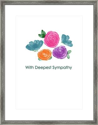 Watercolor Rose Sympathy Card- Art By Linda Woods Framed Print