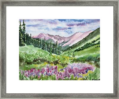 Framed Print featuring the painting Watercolor - San Juans Mountain Landscape by Cascade Colors