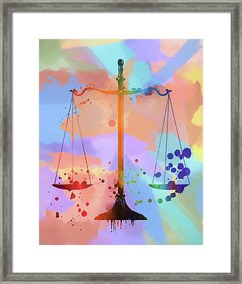 Watercolor Scales Of Justice Framed Print