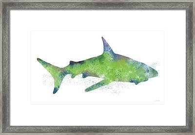 Watercolor Shark 2-art By Linda Woods Framed Print